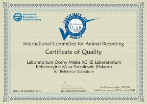 Extension Certificate of Quality Oceny Mleka KCHZ Poland