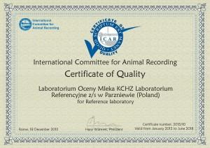 Extension Certificate of Quality Oceny Mleka KCHZ Poland